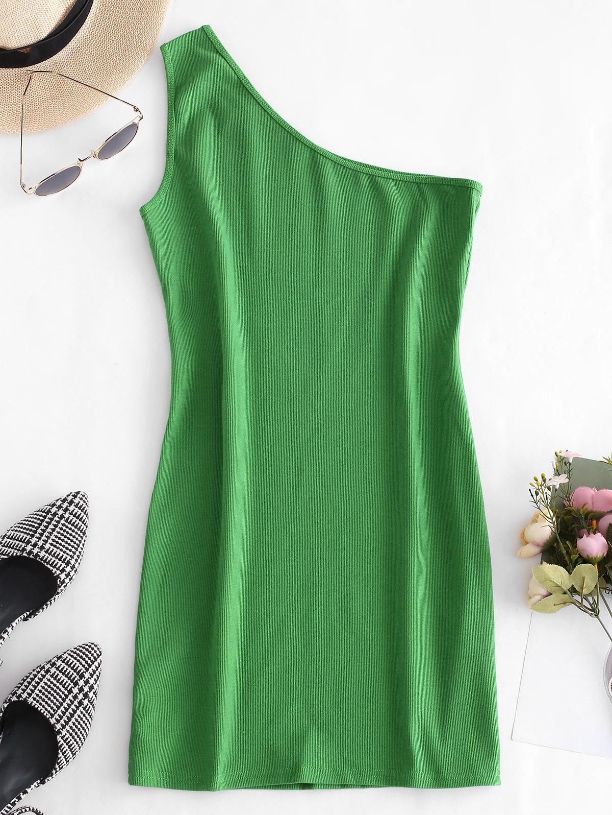 One Shoulder Sleeveless Ribbed Bodycon Dress