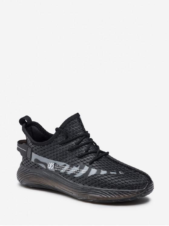 ladies Fish Scale Textured Lace Up Running Sneakers - GRAY EU 42