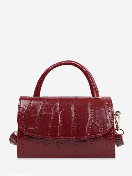 lady Solid Textured Crossbody Bag - RED WINE
