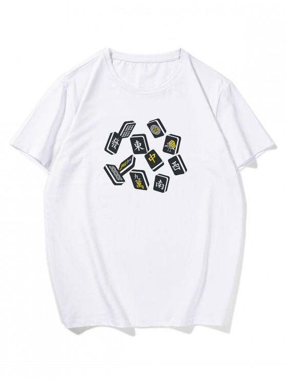 hot Mahjong Printed Short Sleeves T-shirt - WHITE 2XL