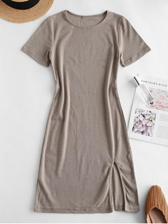 fashion Slit Ribbed Casual Mini Dress - TAN S