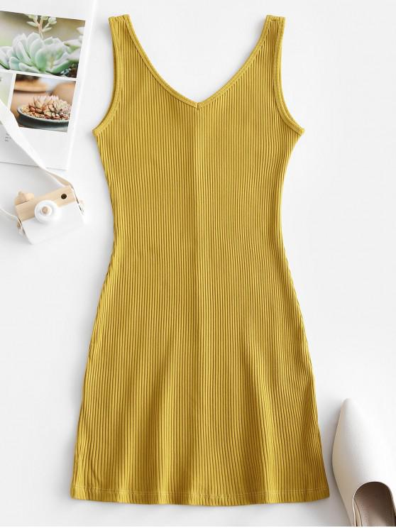 unique Double V Ribbed Tank Dress - YELLOW M