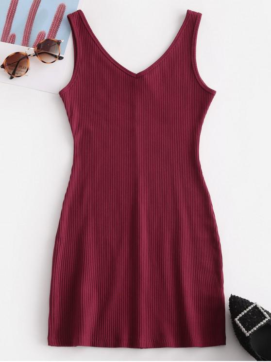 online Double V Ribbed Tank Dress - RED WINE S