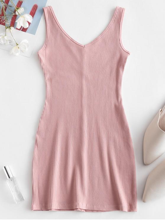 hot Double V Ribbed Tank Dress - PINK S