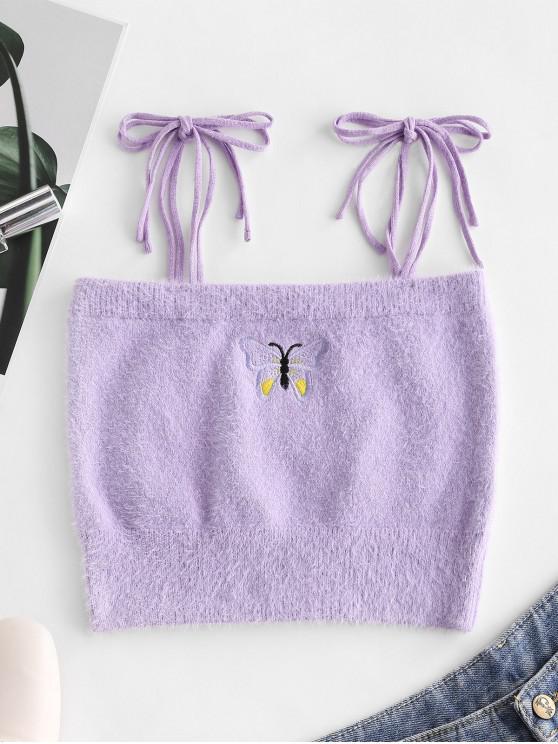Fuzzy Tie Umăr Butterfly Brodate Crop Top - Violet M
