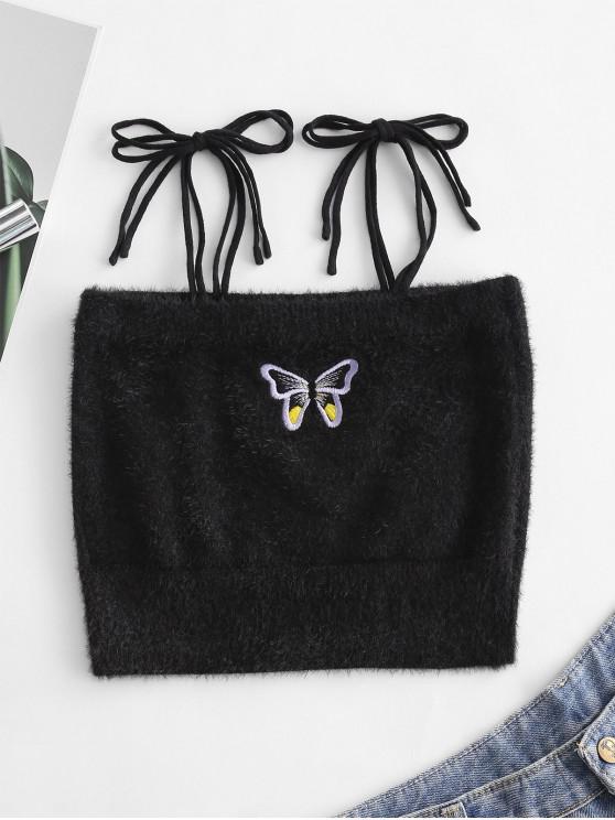 ladies Fuzzy Tie Shoulder Butterfly Embroidered Crop Top - BLACK M