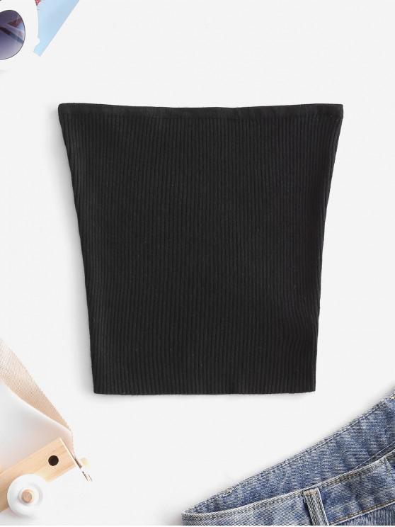 womens Plain Knitted Tube Top - BLACK S