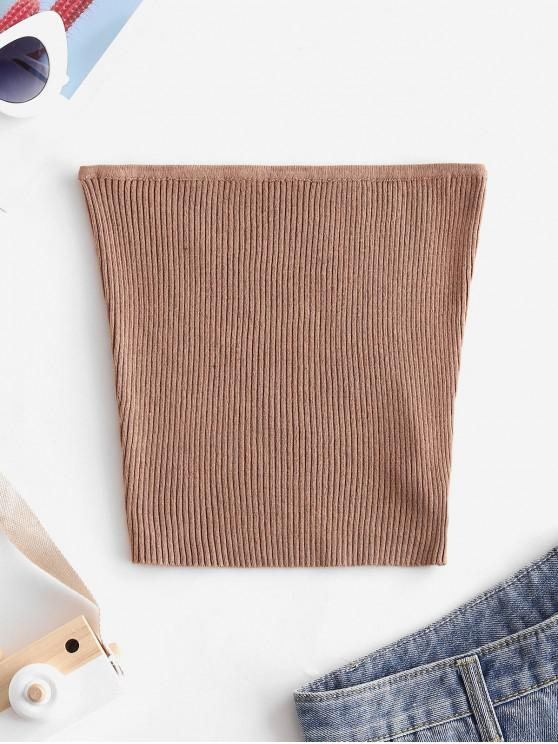 affordable Plain Knitted Tube Top - LIGHT BROWN S