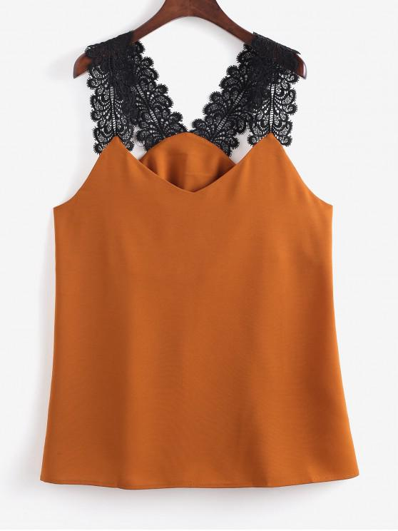 latest Crochet Panel Plunge Tunic Tank Top - TIGER ORANGE S