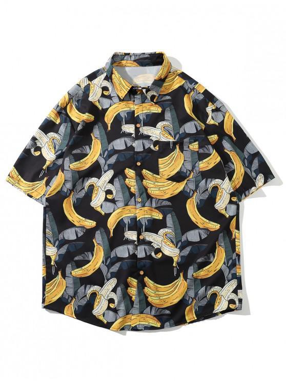 hot Hawaii Tropical Leaf Banana Vacation Shirt - BLACK 2XL
