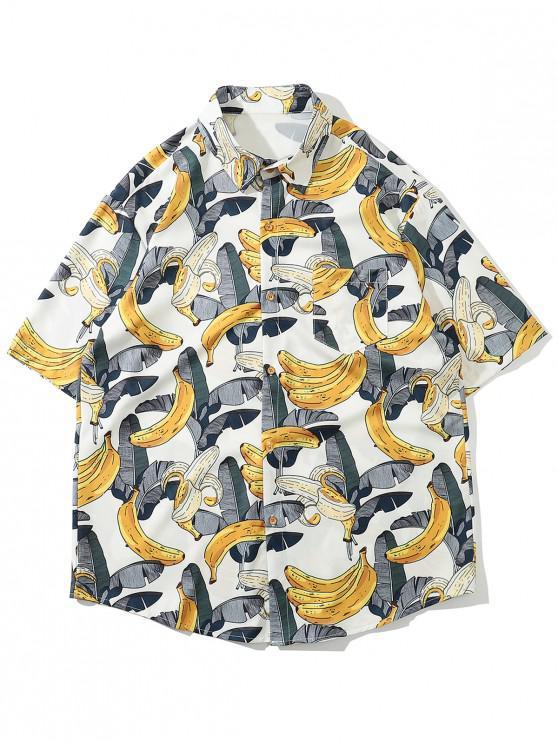 shops Hawaii Tropical Leaf Banana Vacation Shirt - WHITE 2XL