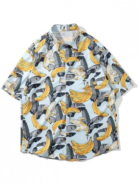 chic Hawaii Tropical Leaf Banana Vacation Shirt - LIGHT BLUE 2XL