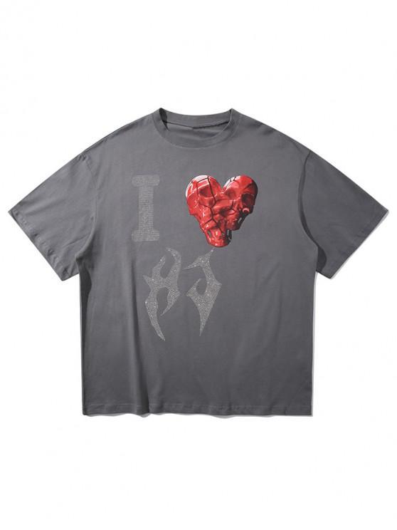 sale Skull Heart Sparkly Rhinestone Graphic T-shirt - DARK GRAY XL