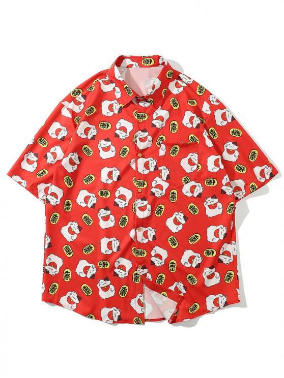 Camisa Suelta Parchada Diseño Impreso Gato Bolsillo - Rojo Lava 2XL