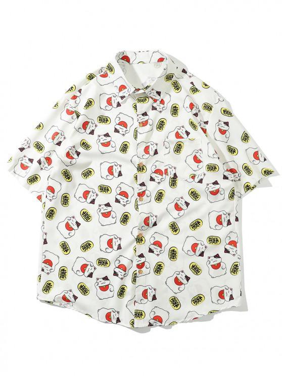 unique Fortune Cat Oriental Print Pocket Patch Shirt - WHITE 2XL