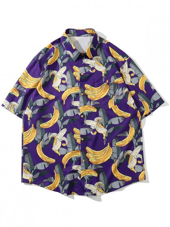 womens Hawaii Tropical Leaf Banana Vacation Shirt - PURPLE 2XL