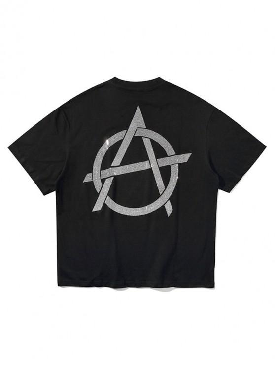 Prickelnd Grafik Buchstabedruck Kurzarm T-Shirt - Schwarz XL