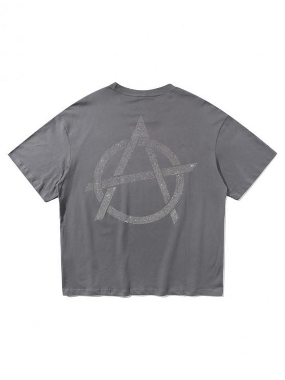 ladies Sparkly Graphic Letter Print  Short Sleeve T-shirt - DARK GRAY XL