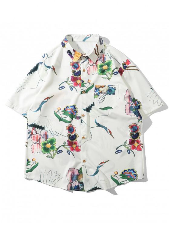 outfit Floral Flying Crane Print Pocket Button Shirt - WHITE 2XL