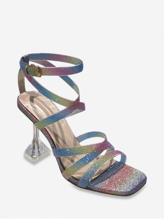 Sandalias de Tacón Alto con Tiras Cruzadas en Forma de Lentejuelas - Multicolor-A EU 38