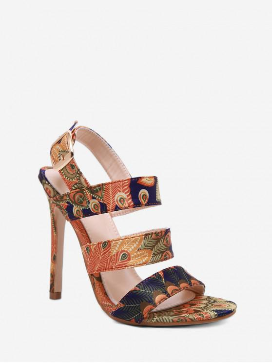 Sandalias de Tacón Alto con Estampado de Pavo Real - Multicolor-A EU 38