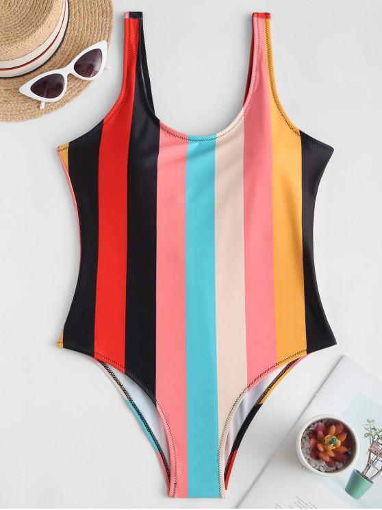 Rainbow Striped Backless One-piece Swimsuit - متعددة-A S