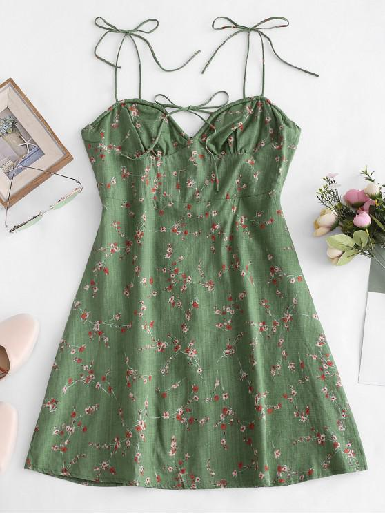 hot Tiny Floral Print Tie Knot Dress - GREEN S
