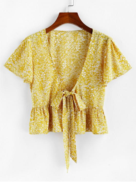 unique ZAFUL Tie Front Plunging Neck Ditsy Print Blouse - YELLOW S