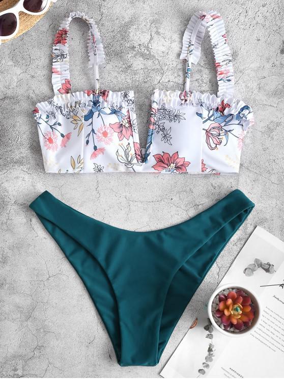 ZAFUL مزركش V-السلكية مصنع طباعة بيكيني ملابس السباحة - الطاووس الأزرق M