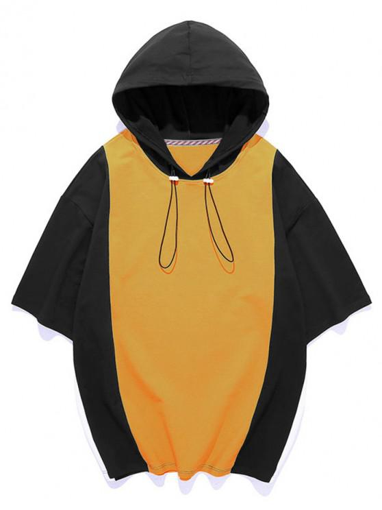 unique Color Blocking Panel Hooded T-shirt - SUN YELLOW 3XL