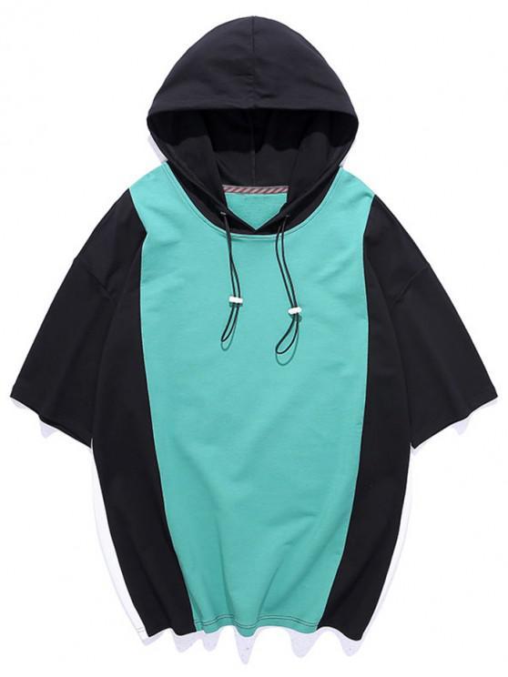 Camiseta con Capucha de Panel de Color Bloque con Mangas Cortas - Turquesa Mediana M
