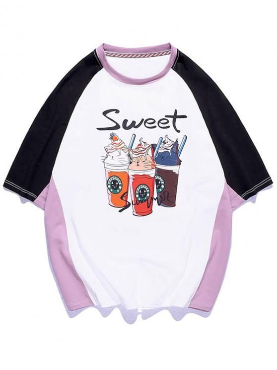 Sweet Ice Cream Graphic Colorblock Panel T-shirt - أبيض M