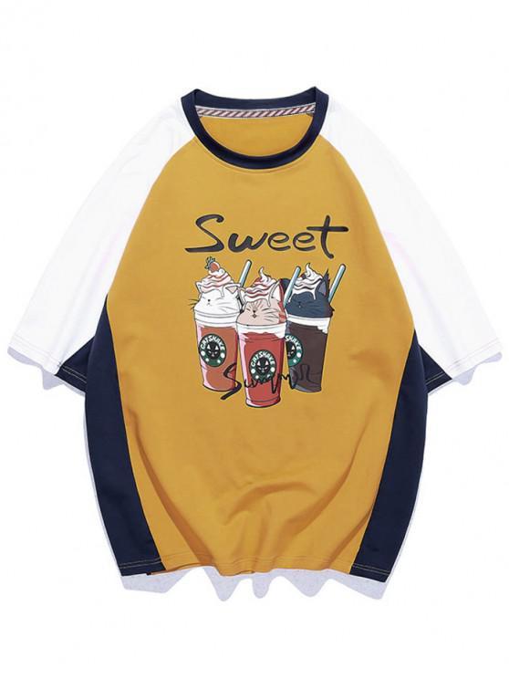 Süße Eiscreme Grafik Farbblock Panel T-Shirt - Sonne Gelb 3XL