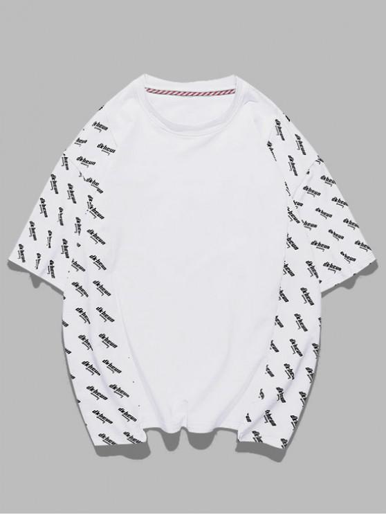 Letter Print Spliced Short Sleeve T-shirt - أبيض M
