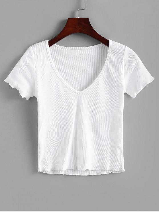 fashion Solid V Neck Ribbed Tee - WHITE L