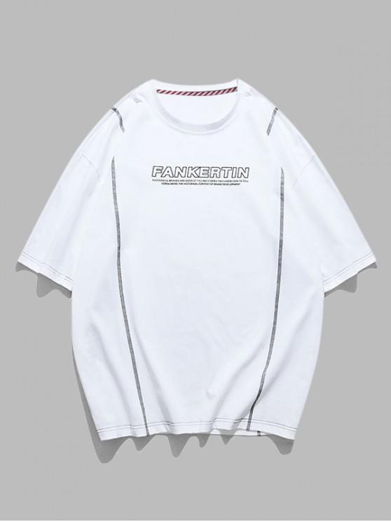 Kurzärmliges T-Shirt mit Stitching und Buchstabedruck - Weiß 2XL