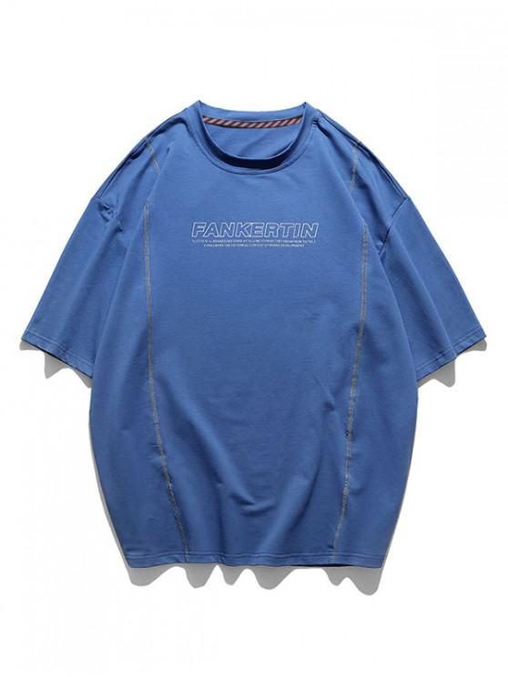 women's Stitching Letter Print Short Sleeve T-shirt - BLUEBERRY BLUE 3XL