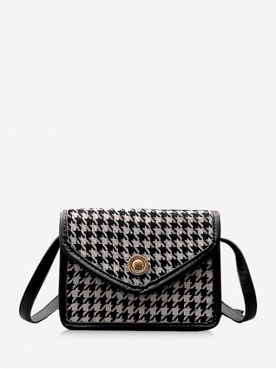 buy Retro Houndstooth Crossbody Bag - BLACK