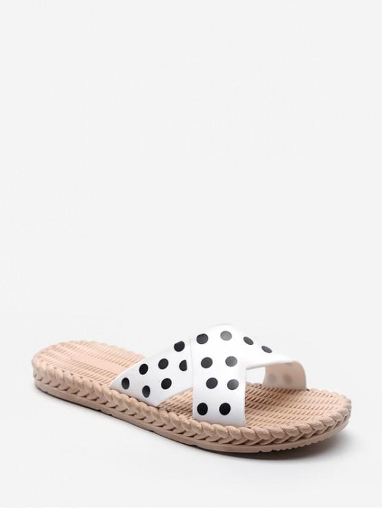 sale Polka Dots Print Slides Sandals - WHITE EU 41