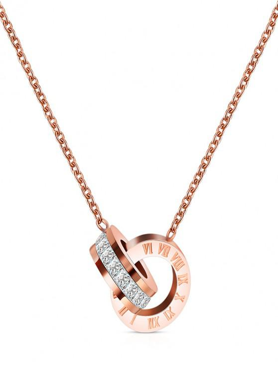Collar Números Romanos Brillantes - Oro Rosa