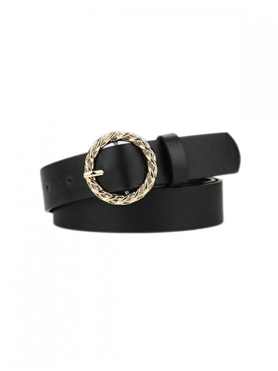 Cinturón Tallado y Hebilla - Negro