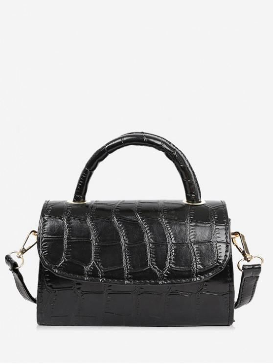 shops Solid Textured Crossbody Bag - BLACK