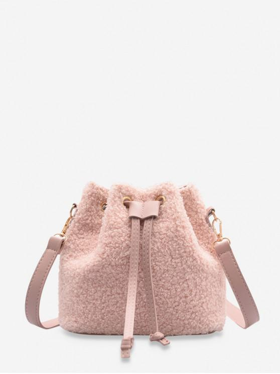 women's Plush Drawstring Crossbody Bag - LIGHT PINK