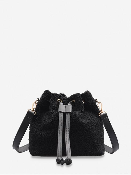 womens Plush Drawstring Crossbody Bag - BLACK