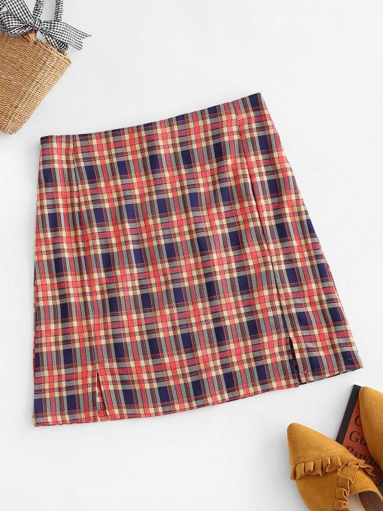 online Plaid Slit Front Mini Skirt - RED L