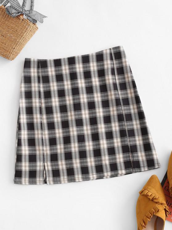 buy Plaid Slit Front Mini Skirt - BLACK M