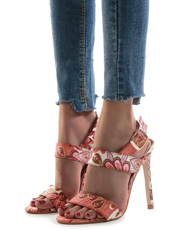 women's Peacock Print Stiletto Heel Ankle Strap Sandals - BEE YELLOW EU 38