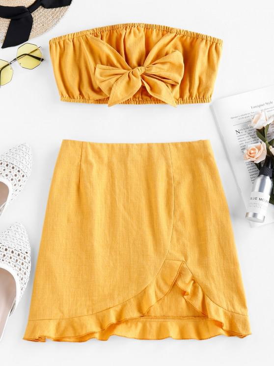 ladies ZAFUL Bowknot Strapless Flounce Co Ord Set - BRIGHT YELLOW S