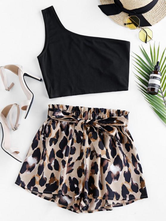 latest ZAFUL One Shoulder Leopard Paperbag Shorts Set - CAMEL BROWN L
