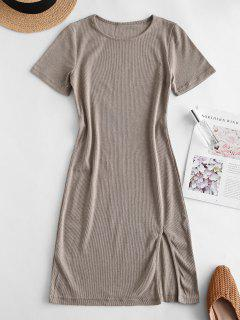 Slit Ribbed Casual Mini Dress - Tan S